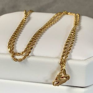 14K Yellow Gold Diamond Cut Rope Chain Necklace